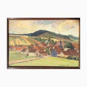 Julius Hellner, Bad Colberg Thüringen, 1918, Oil on Cardboard