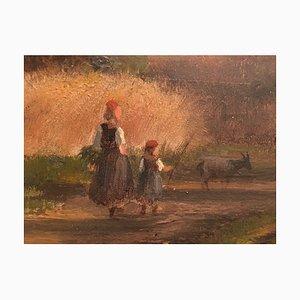 Schwälmer Siblings at Home, Oil on Cardboard