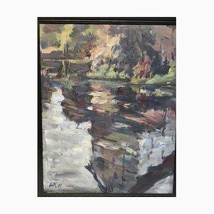 Bernd Sexton, Houses on the Lahn, 1997, Oil on Canvas