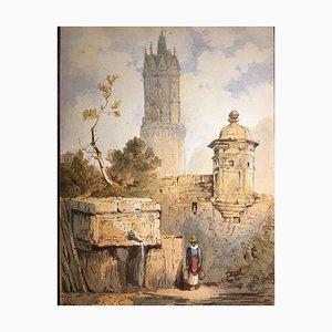 Runder Turm Andernach, 1881, Aquarell