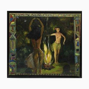 Nude Women Dance by a Fire, Öl auf Leinwand