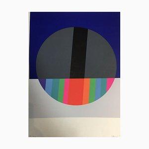 Eugenio Carmi, Kreis in Blau & Grau, Lithographie