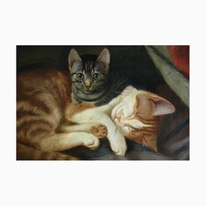 Carl WE Fink, Cats, Oil on Canvas