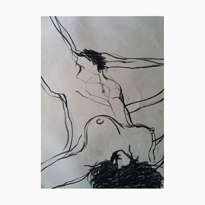 Jung In Kim, Nude, 1969, Charcoal Drawing