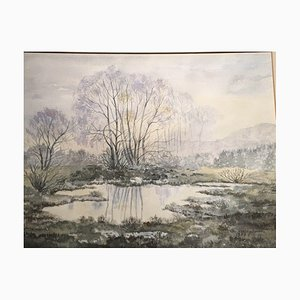 Christa Strothjohann, Crumpled Pond, 1987, Watercolor