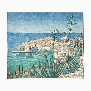 Dubrovnik Ragusa, Puerto, Schultz Josef, 1892-1972, Acuarela