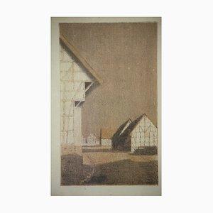Litografia di Ernst Burmester, 1877-1917, villaggio Willingshausen