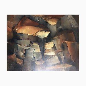 Antonie Becker, Troncos de madera desgastada, 1974, óleo sobre lienzo