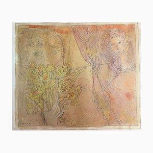 Borris Goetz, Yellow Nude, 1947, Watercolor