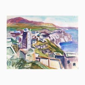 Heymo Bach, Santorin Kykladen Thira, 1984, Watercolor