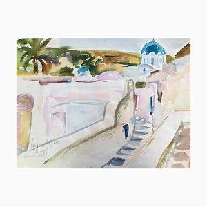 Heymo Bach, Santorini Kykladen Thira, 1984, Aquarell