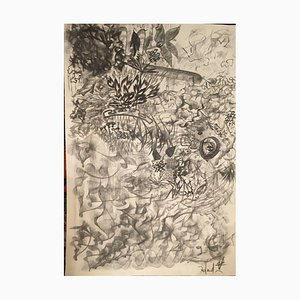 Roland V, The Garden of Eyes, Kohlezeichnung