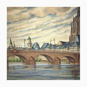 F. W. Eysell, Main Cathedral Main Bridge, Oil on Cardboard
