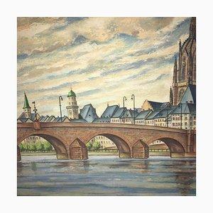 FW Eysell, Main Cathedral Main Bridge, Öl auf Karton