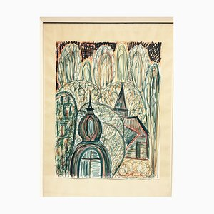 Erwin Schweitzer, 1887-1968, Houses in Hesse, Crayon