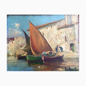 Ronda, südliche Hafensegelboote, Öl auf Holz