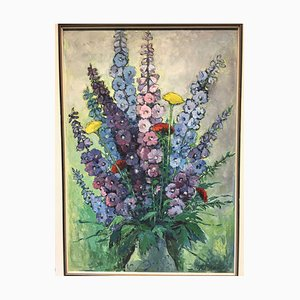 Paul Ritzau, Sommerblumen Lupinien, 1900, olio / fibra