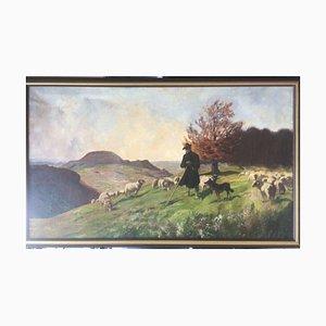 Julius Hellner, 1871-1942, Schäfer Hoher Dörnberg Kolitz, Öl auf Leinwand