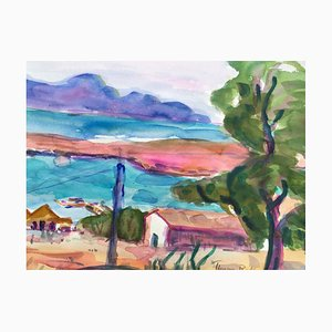 Heymo Bach, Lindos On Rhodes, 2005, Watercolor