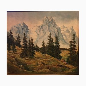 Wetterhorn Rosenhorn, 1947 con vistas a abetos, óleo sobre lienzo
