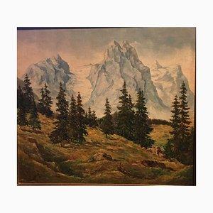 Wetterhorn Rosenhorn, 1947 Mit Blick auf Tannen, Öl auf Leinwand
