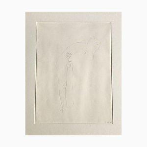Chantal Wengler, Man Hunched, 1990, Pencil