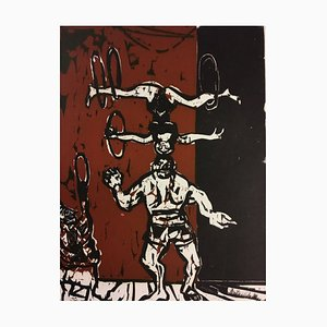 Helmut Göttl, 1934-2011, Clown Throwing Rings, Woodcut