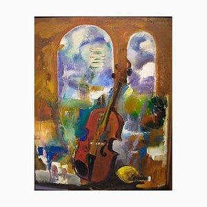 Boponol B. 1955, Russia Still life with Violin, 1996, Cyrillic Inscribed on Verso