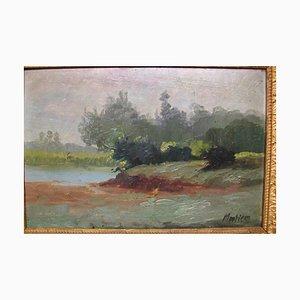 Moutier Moulier, Landschaft mit See, Öl & Holz