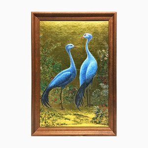 Cauer Walter 1905-95, Herons Oil on Gold Foil