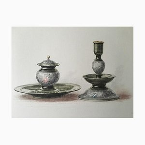 inkstand and Candlestick, Etching