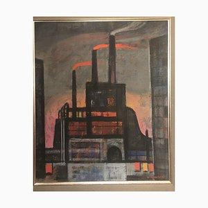 Rudolf Karasek, Smoking Chimneys Red Glow, Mixed Media