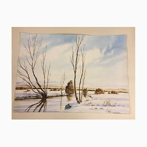 M. Spirkl, Moor in Winter, Watercolor