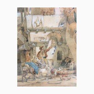 Wilhelm Gail, Abschied am Brunnen, 1825, Aquarell