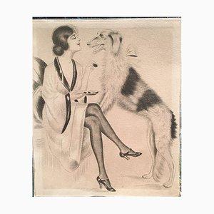 Russischer Windhund, Lithographie