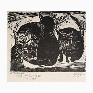 3 Cats, 1935, Linocut
