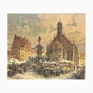 Market at the Neptune Fountain, 1890