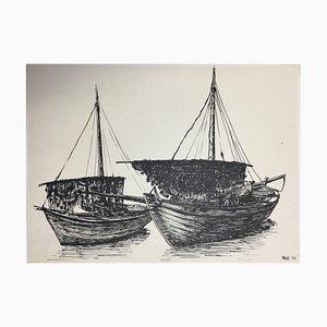Hellmuth Mueller-Leuter Nr. 18, Zwei Fischerboote, 1936, Tinte auf Papier