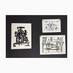Hellmuth Mueller-Leuter, ink Drawings, Set of 3