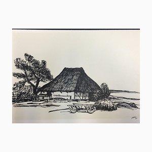 Hellmuth Mueller-Leuter, Norddeutsches Farm House, ink on Paper