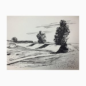 Hellmuth Mueller-Leuter, No. 15 Landscape with Three Trees, ink on Paper