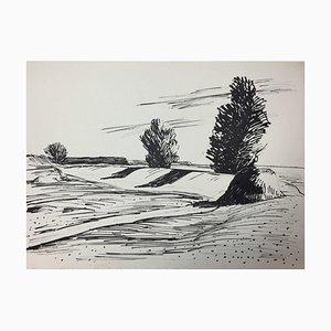 Hellmuth Mueller-Leuter, No. 15 Landscape with Three Trees, Tusche auf Papier