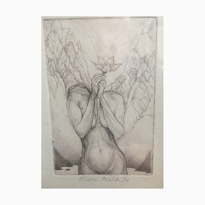 Christian Mischke, Flora Nude with Flower, 1974, Etching