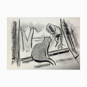 Hellmuth Mueller-Leuter, At The Window Cat, ink on Paper