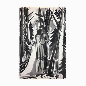 Hellmuth Mueller-Leuter, No. 3 Pair of Lovers in the Forest, ink on Paper