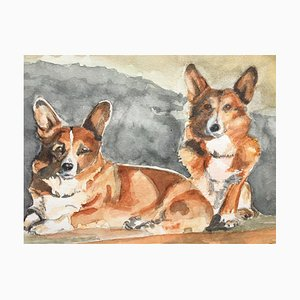 Pembroke, Welsh Corgi, Watercolor