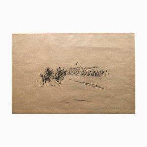 Litografia di Otto Dill, 1884-1957, corse di cavalli