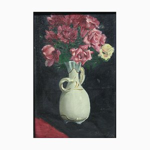 Rudolf Fanner, 1917, Bouquet of Eight Red Roses with White Rose, oil on Canvas