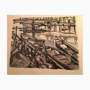 Joseph Jos van Brackel, 1874-1955, Fulda Harbour, Charcoal