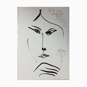 Zeising Gert 1936, Leipzig, Dedicated Elegant Women, 1987, Ink Portrait